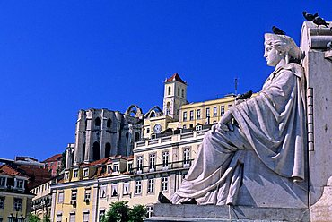 Do Carmo nunnery seen from Piazza Rossio, Lisbona, Portugal, Europe
