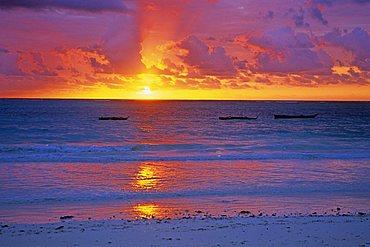 Dawn on the beach, Zanzibar, Tanzania, East Africa, Africa