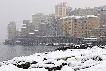 Cityscape with snow, Pegli, Ligury, Italy