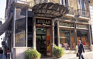 Foreshortening, Largo do Chiado street, Lisbona, Portugal, Europe