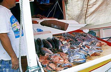Fish market, Curaçao island, Netherlands Antilles, Caribbean, Central America