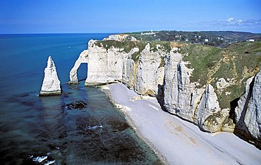 The cliff and Manneport natural arch in Étretat, Normandy, France, Europe