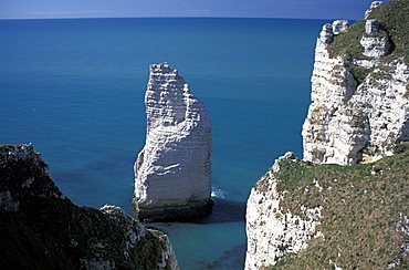 The cliff and the spire in Étretat, Normandy, France, Europe