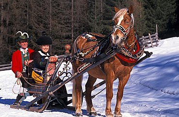 Typical costumes and antique sleigh, Alta Badia, Trentino Alto Adige, Italy