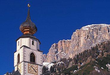 Bell tower, San Cassiano, Val Badia, Trentino Alto Adige, Italy