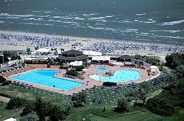 Aerial view of Albarella Island's beach, Rosolina, Veneto, Italy