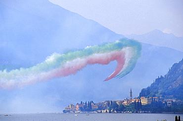 Frecce Tricolori national acrobatic patrol, Varenna, Lombardy, Italy