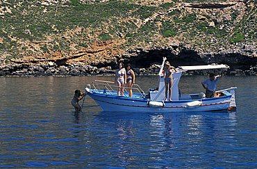 Bathers, Marettimo island, Egadi islands, Sicily, Italy