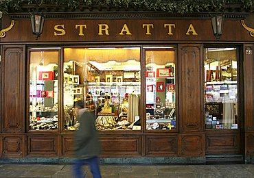 Shop windows, San Carlo square, Turin, Piedmont, Italy