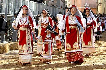 Typical clothes, Sartiglia feast, Oristano, Sardinia, Italy, Europe