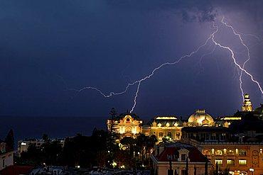 Thunderstorm over Casino, Monte Carlo, Monaco, Europe