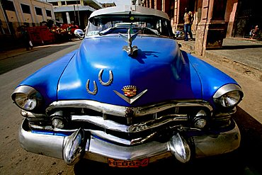 Blue car, La Habana Vieja, Havana, Cuba, West Indies, Central America