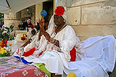 Women in traditional clothes, Havana, Cuba, West Indies, Central America