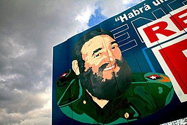 Fidel Castro poster, Havana, Cuba, West Indies, Central America