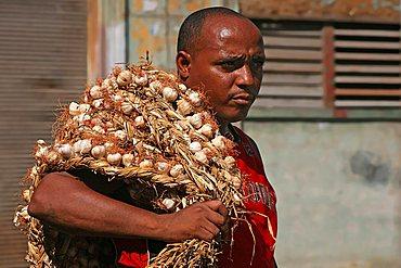 Garlic seller, Havana, Cuba, West Indies, Central America