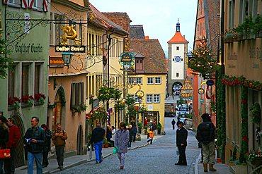 Historic centre, Rothenburg ob der Tauber, Bavaria, Germany, Europe