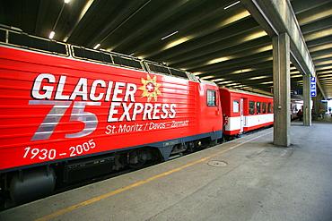 Train Station, Glacier Express Train, Zermatt, Valais, Switzerland, Europe