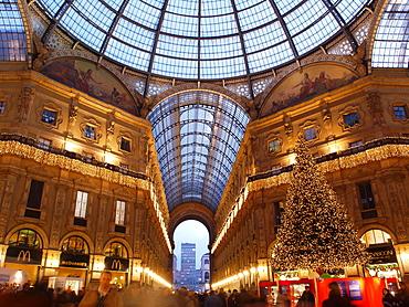 Galleria Vittorio Emanuele II at Christmas, Milan, Lombardy, Italy, Europe