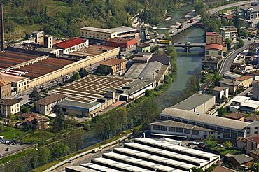 Serio river and factories, Colzate, Lombardy, Italy