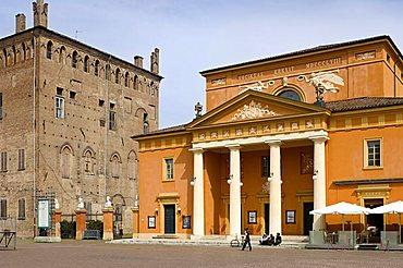 Piazza dei martiri and theatre, Carpi, Emilia Romagna, Italy