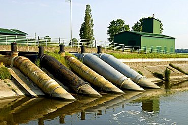 Water scooping machine near volano, Po delta, Emilia Romagna, Italy