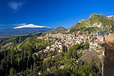 Panoramic view of Mount Etna from Taormina, Taormina, Sicily, Italy