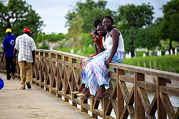 Wooden bridge that connects Fadiouth and muslim and christian cemetery, Joal-Fadiouth, Republic of Senegal, Africa