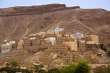 Village view, Al Hajjarain, Wadi Doan, Yemen, Middle East