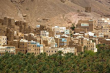 Village view, Al Hab, Wadi Doan, Yemen, Middle East