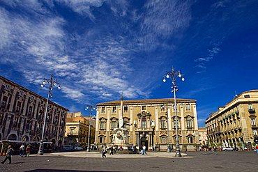Fountain of the elephant, Duomo square, Catania, Sicily, Italy, Europe