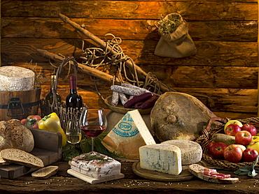 Jambon de Bosses typical ham, Fontina cheese DOP, Lardo di Arnad DOP, Fromadzo cheese DOP, Valle d'Aosta, Italy