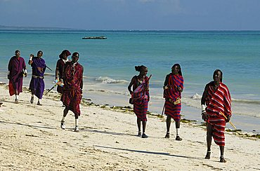 A Maasai people on the beach, Zanzibar, United Republic of Tanzania, Africa