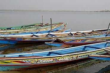 Saloum river with pirogue, Ndangane, Republic of Senegal, Africa