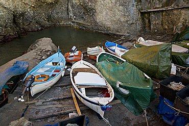 Little seaport of porto pidocchio, Portofino mount, Punta Chiappa Village, Camogli, Ligury, Italy