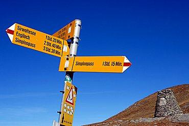 Path sign near Simplon Pass, Switzerlad