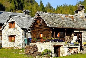 mountain hut in Crampiolo, Alpe Devero Park, Ossola Valley, Verbania province, Italy