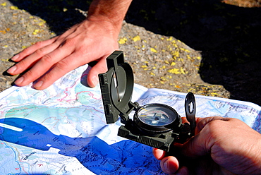 Map and compass, Going to Pontese refuge, Piantonetto Valley, Locana Valley, Gran Paradiso National Park, Piedmont, Torino province, Italy