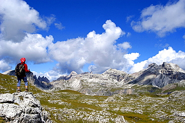 Going to Puez refuge, Puez Odle natural Park, between Gardena Valley and Badia Valley, Alto Adige, Italy