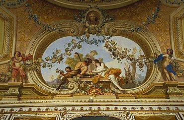 Particular of the ceiling in Autumn hall, Reggia di Caserta, Caserta, Campania, Italy