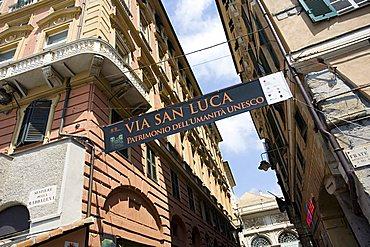 Via San Luca street, World heritage UNESCO site, Genoa, Ligury, Italy