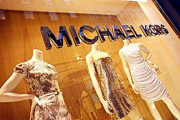Michael Kors shop window, Via Sant'Andrea street, Milan, Lombardy, Italy, Europe