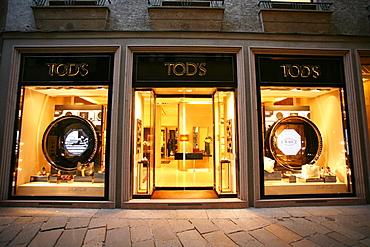 Tod's fashion shop, Via della Spiga 22  street, Milan, Lombardy, Italy, Europe