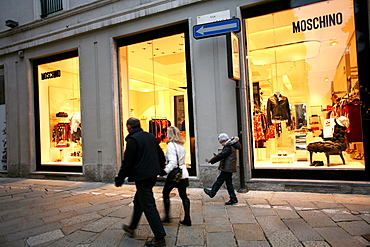 Moschino fashion shop, Via della Spiga street, Milan, Lombardy, Italy, Europe