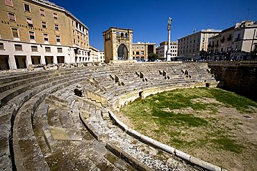 Roman amphitheatre and Palazzo del Seggio called Sedile Palace, Lecce, Puglia, Italy
