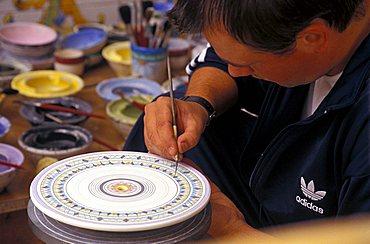 Decoration of Vietri ceramics, Campania, Italy