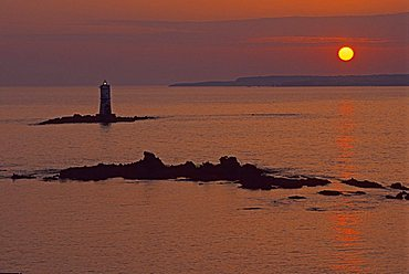Lighthouse, Scoglio Mangiabarche near Isola di S. Antioco, Sardinia, Italy