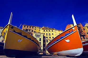 Boats on beach, Camogli, Ligury, Italy