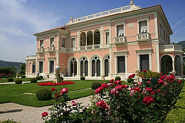 The villa from the French garden, Villa Ephrussi De Rothschild, St. Jean Cap-Ferrat, France