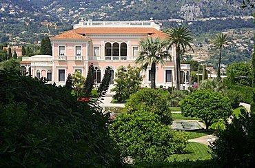 The French garden and the villa, Villa Ephrussi De Rothschild, St. Jean Cap-Ferrat, France