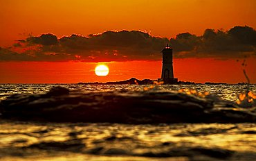 Light house at sunset, Mangiabarche, Calasetta, Sant'Antioco, Carbonia Iglesias, Sardinia, Italy, Europe